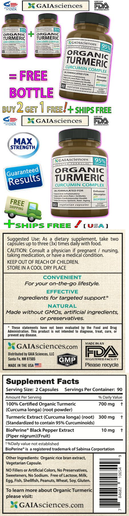 Herbs and Botanicals: Max Strength Organic Turmeric Curcumin Extract Curcuma Bioperine 540Ct Capsules -> BUY IT NOW ONLY: $79.95 on eBay!