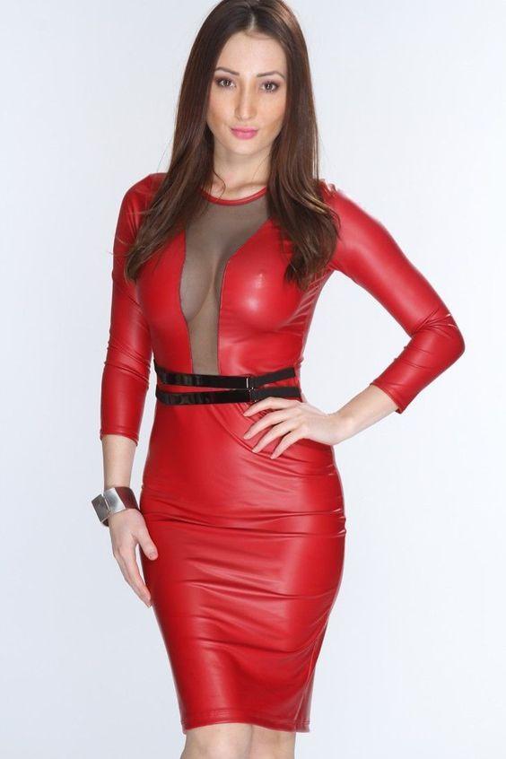 Pin by Lederlady on leer in 2020 | Leather dresses, Red