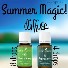 This is a great essential oils recipe to put in the diffuser for summer - stress away and peppermint Young Living oils.