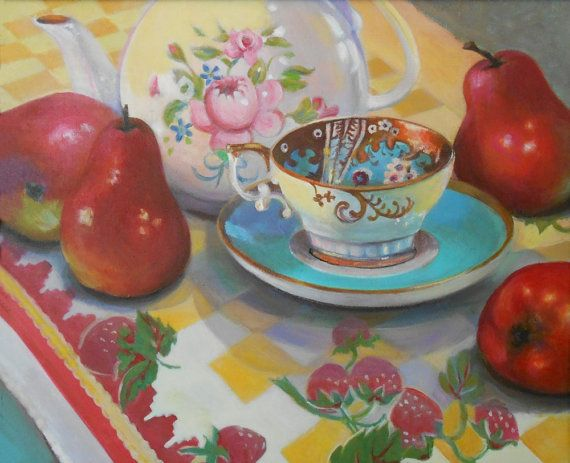 Red Pears and Teacup 20 x 16 Acrylic Painting by AtelierBaba