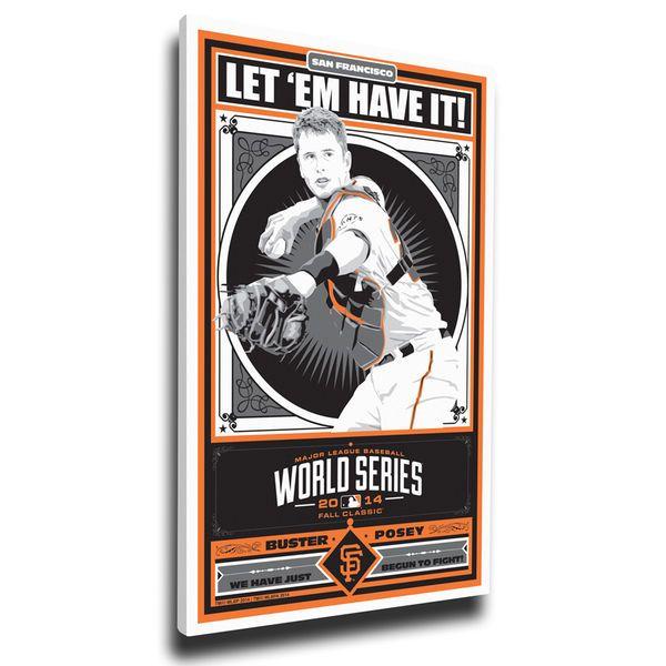 "Buster Posey San Francisco Giants 20"" x 26"" 2014 World Series Champions Player Propaganda Canvas Print - $79.99"