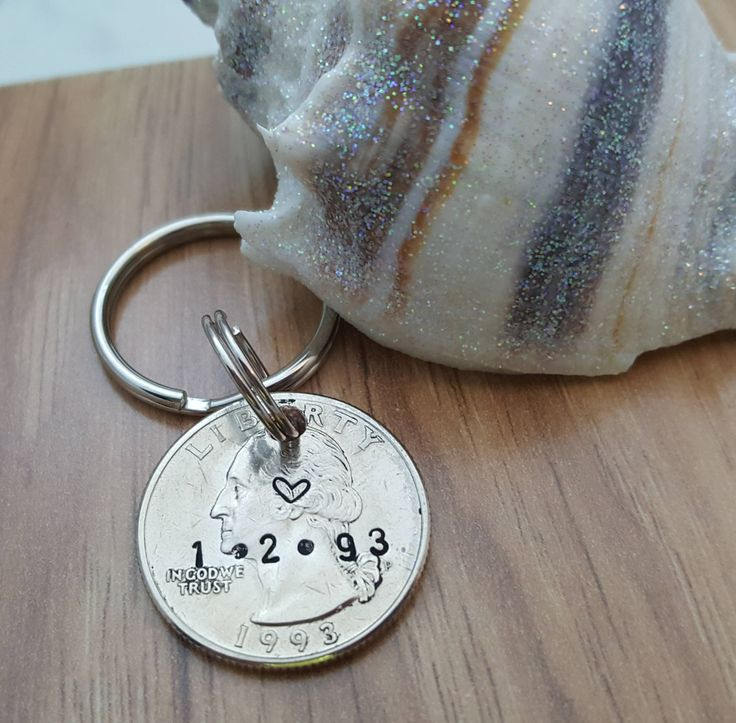 25 year coin keychain stamped quarter 1994 1995 coin