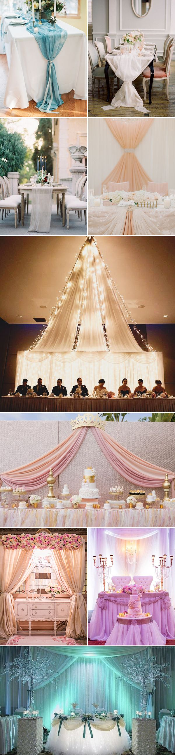 32 Romantic Drapery Decor Ideas to Stun Your Guests - Table Draping!
