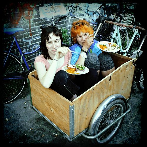 dinner in christiania    Christiania is an independent village of a mini-society with an alternative approach to life; located in the very centre of Copenhagen. Every Thursday I go there for commune veggie dinner. We cook together and share good spirits.
