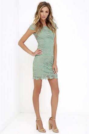 Hidden Talent Backless Sage Green Lace Dress at Lulus.com!