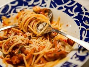 Portuguese Chourio pasta. Wonderful change from traditional spaghetti. Super flavorful and yummy. I used linguica which i ground in the food processor.