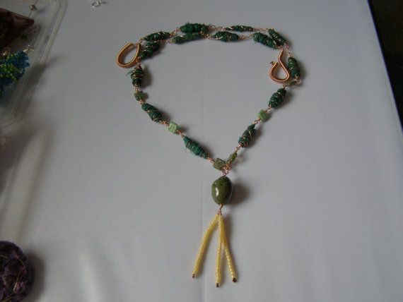 long necklace sari silk ribbon beads teal green and by terramor, €30.00
