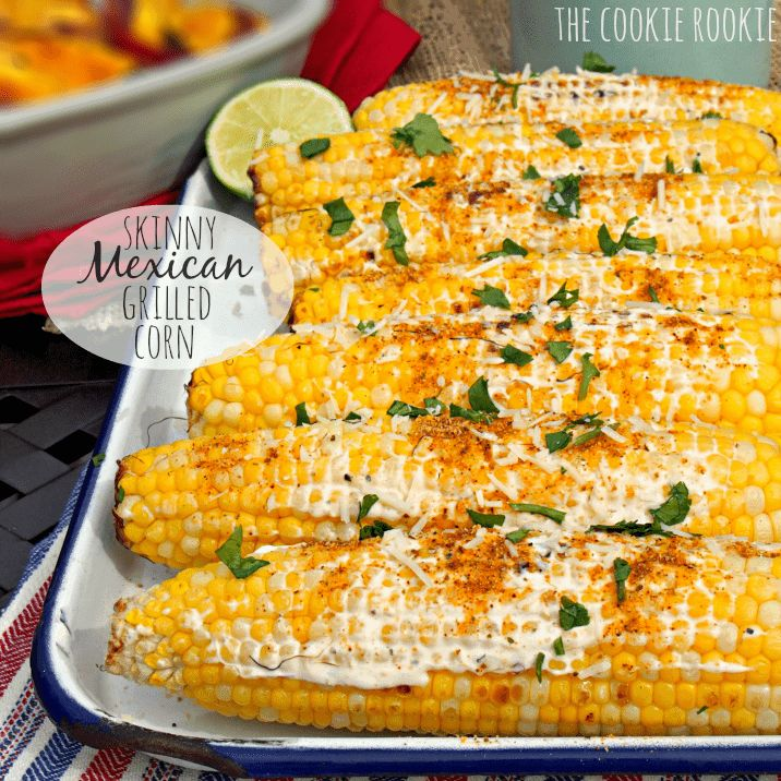 Skinny Mexican Grilled Corn made with Greek Yogurt! The perfect yummy and easy side dish for summer BBQs! Yum!