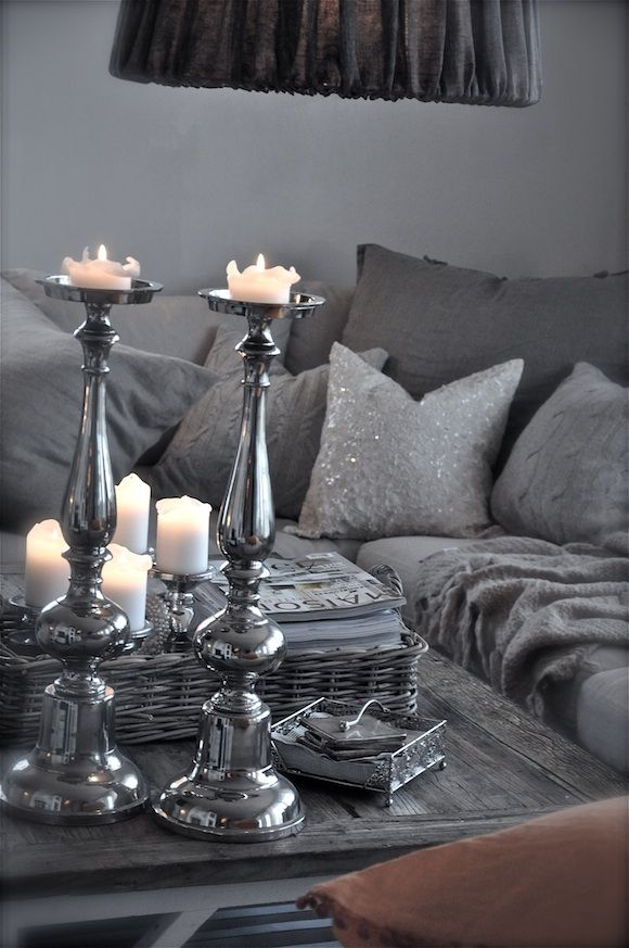 Grey living room silver and grey, Do not hesitate to ever mix shades of grey in the same room, they really compliment each other and adding silver just add's a 'POP' of glam to a grey scheme