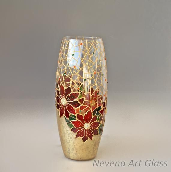 Poinsettia Vase Christmas Decor Gift Table Hand Painted Glass Painting Designs Vases