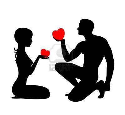 Silhouettes of lovers which give the hearts each other Stock Photo - 5481781