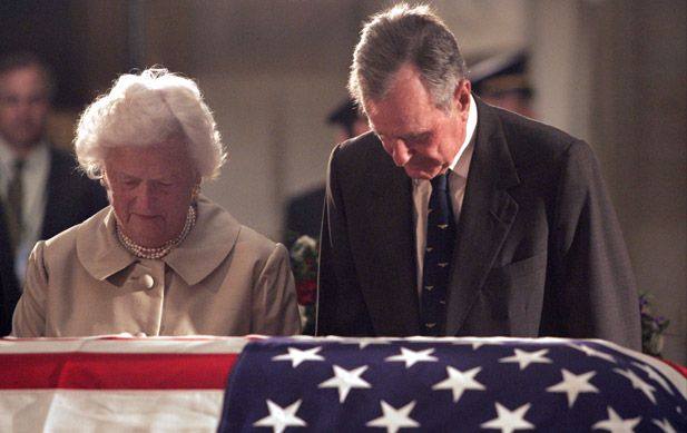 Bush at a funeral ceremony held on june 10 2004 in washington d c