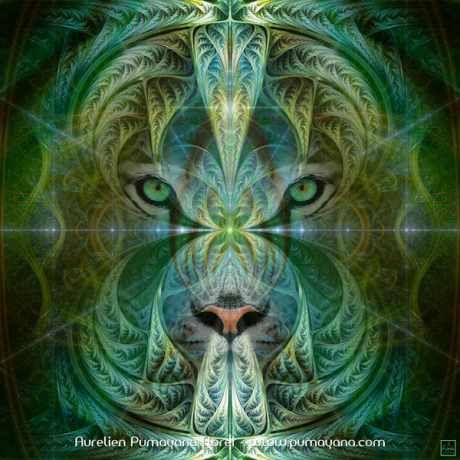 Sinha Spirit. Visionary art by artist Pumayana. Tune in to the energy of the Cat Feline people and discover your inner power and beauty.