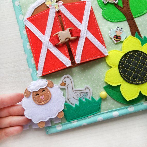 Quiet Book Toddler Tablet About The Farm And Pets Felt Barn Etsy Toddler Tablet Quiet Book Montessori Toys