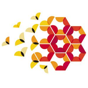 logo - designed by Pretty Pollution for the Duha Group, a large multinational company that specializes in everything colour... from colour cards and samples to production. The logo is an abstract representation of Bees; building, sharing and working as a family. Bees have a strong sense of colour; using them as a symbol in the logo reflects the Duha group's ability to see beautiful colour that no one else can. | #branding #logo #identity #design