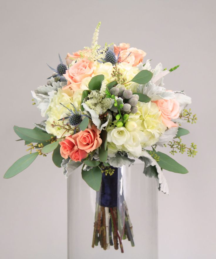 Pop Of Peach: White Hydrangea Accented With White Astilbe