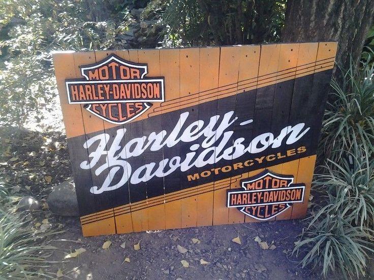 Large Wooden Harley Davidson Motorcycles Sign. AL