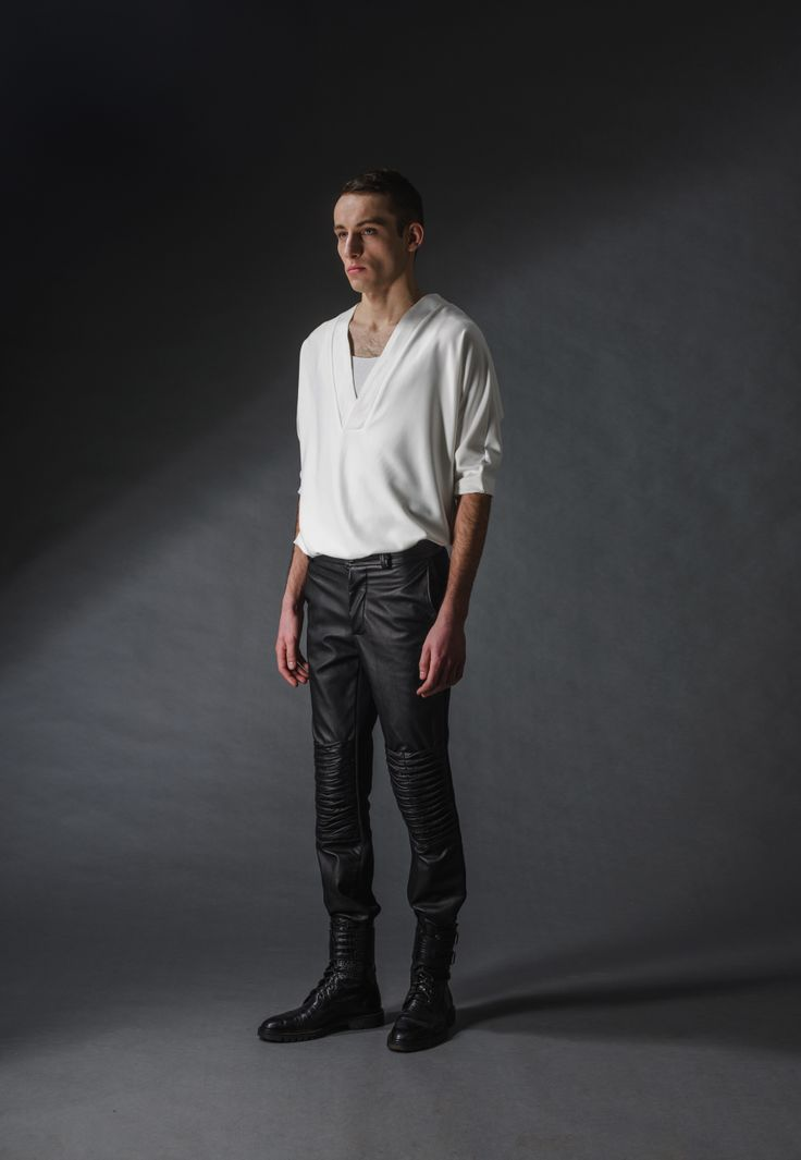 "leather black trousers michal kozlowski | diploma collection ""debut"" 