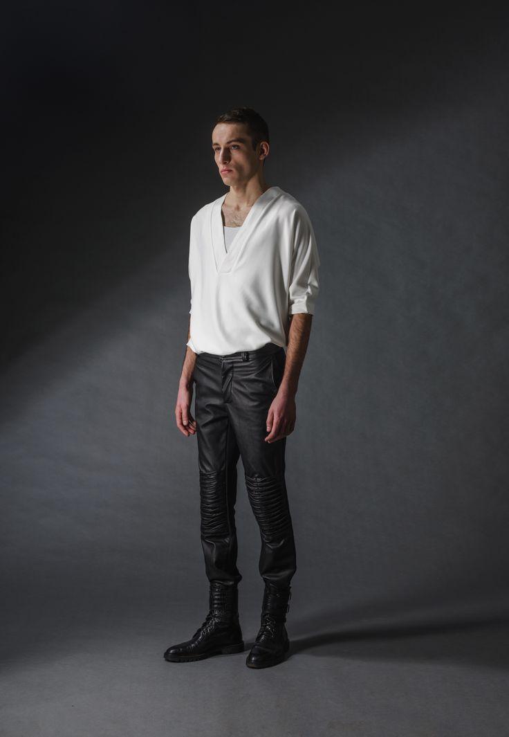 "leather black trousers michal kozlowski   diploma collection ""debut""   2014"