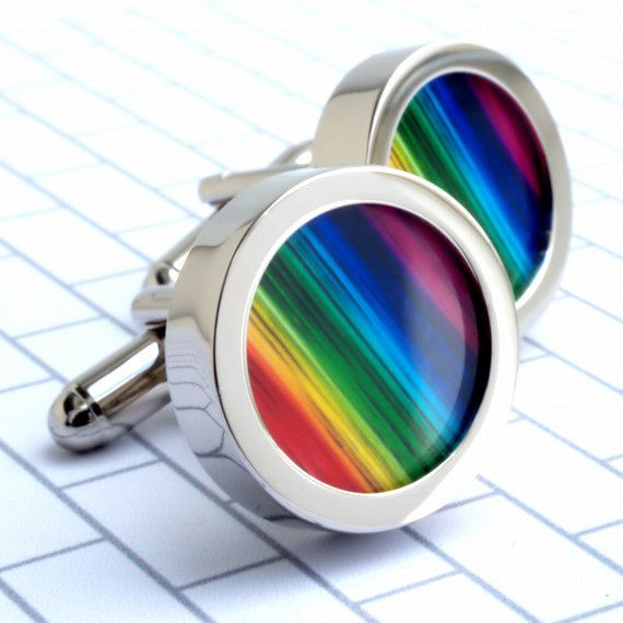 Rainbow Cuff Links Colourful Cufflinks to Wear with Pride  PC026 £25.95