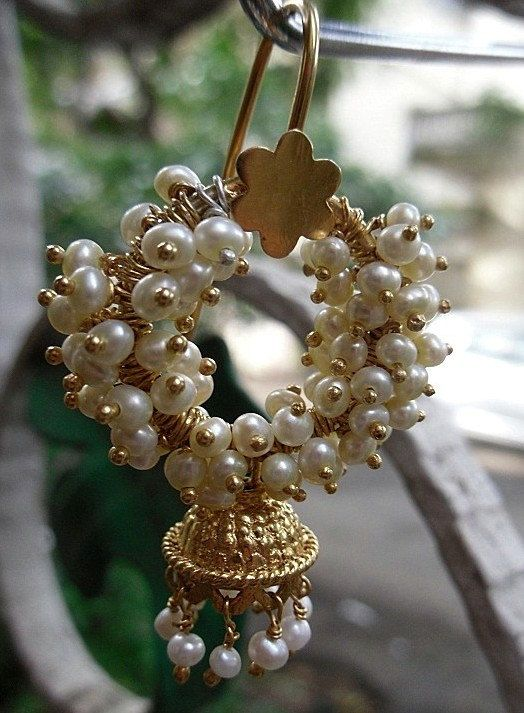 Wreath Style Jhumkas - With Freshwater Pearls