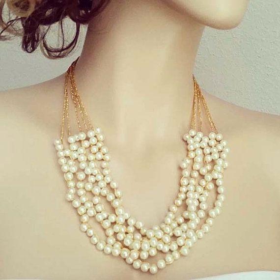 Gold Bridal Necklace Wedding Pearl Statement Downton Abbey Vintage Glamour Art Deco Gatsby Jewelry DOREN Sukran