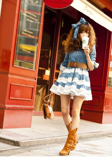 denim and lace- sew lace ruffles over plain skirt