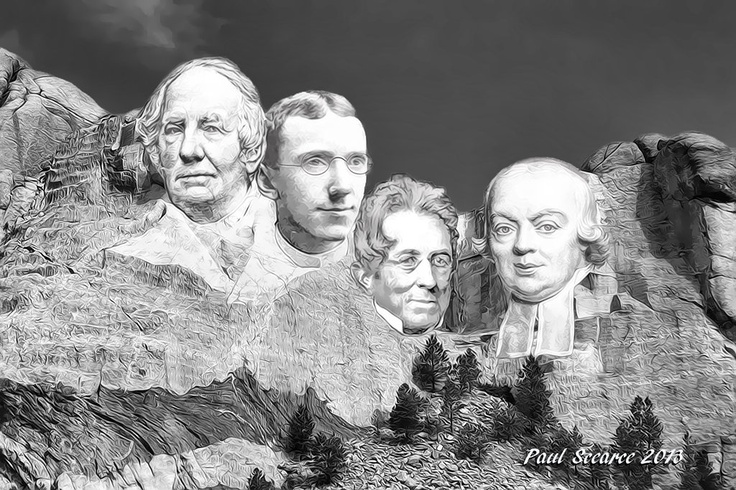 The heads of Laurent Clerc, George W. Veditz, Thomas H. Gallaudet, and Abbe Michel de L'Epee