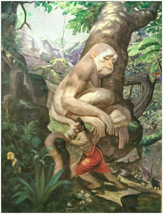 Bheema try to lift hanuman tail