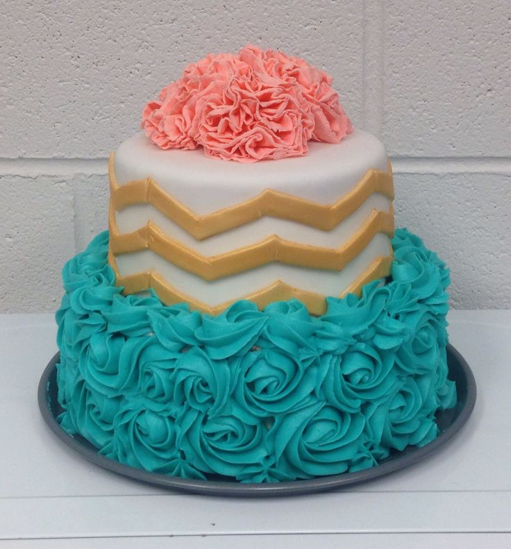 Chevron, teal rosettes, and coral carnations! Birthday cake I made for a friend at school!