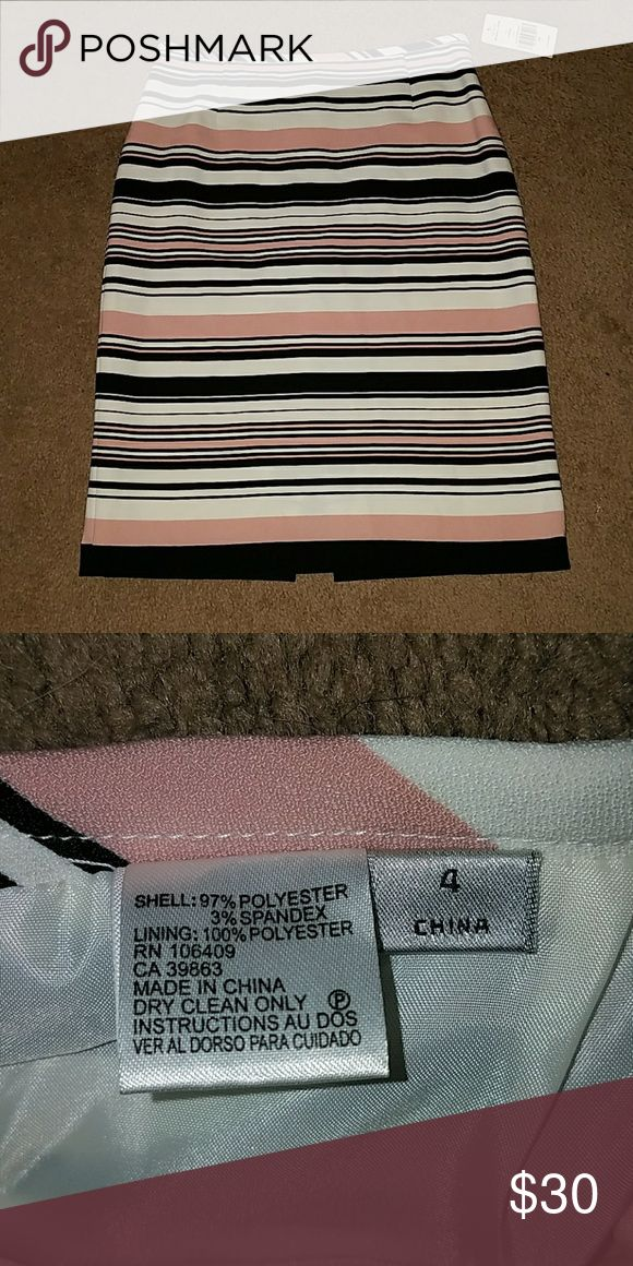 Striped pencil skirt Light pink, white, and black striped pencil skirt. Tahari Skirts Pencil