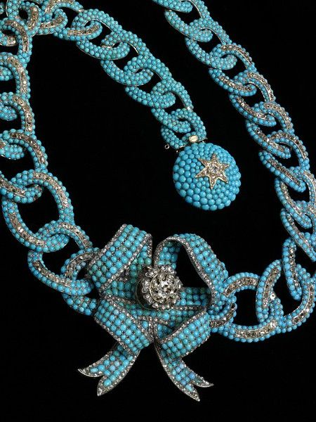 Belle Époque: Pave Turquoise and Diamonds c, 1850