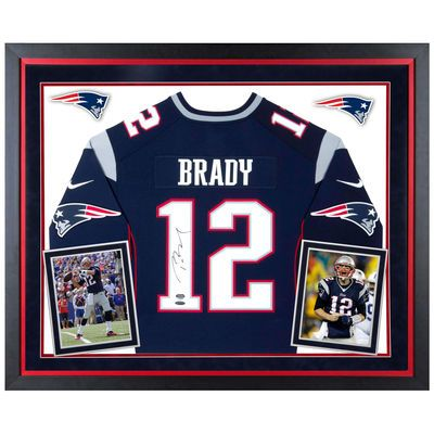 Autographed New England Patriots Tom Brady  Deluxe Framed Nike Navy Limited Jersey - TRISTAR