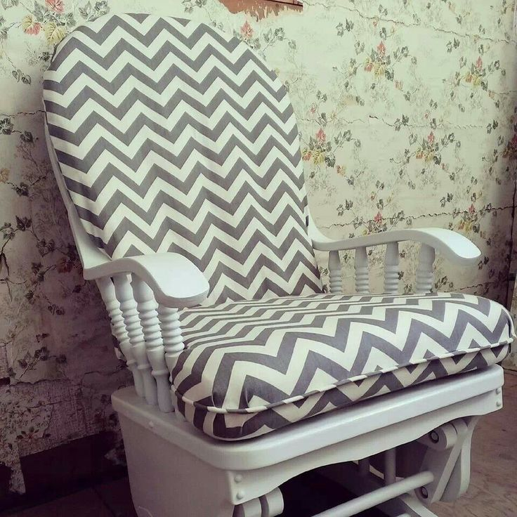 LuLu Belle Designs refurbished glider rocker! Handpainted + custom cushion  covers ...love - 9 Best Glider ROcker Recover Ideas Images On Pinterest Glider