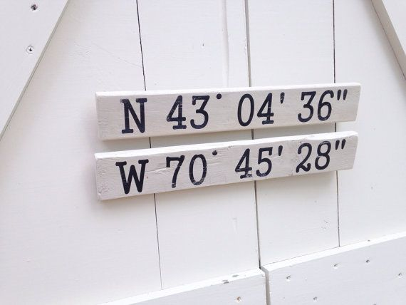 Custom Wooden GPS Coordinate Signs This pair of pint-sized wooden GPS coordinate signs are a perfect thank you gift for a wonderful weekend at a friends house on the lake OR to decorate your own summer home! These signs can be customized with the GPS coordinates for anywhere in the world. The coordinates are printed in black onto a rough piece of pine wood, painted in an antique white, and distressed. Dimensions: 16 long x 2.25 wide ; each with a saw tooth hanger on the back Write GPS…