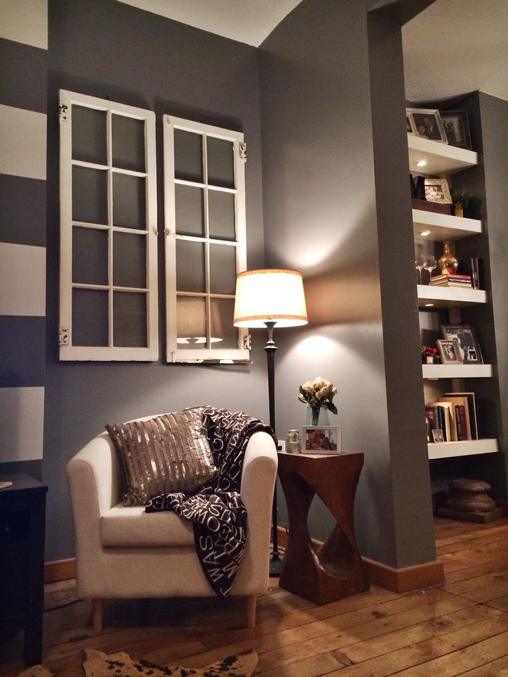 Hang old windows to create the illusion of windows when lacking in your living room! | Our Home ...