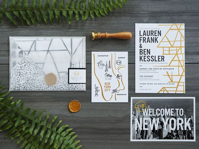 Modern Black, White, and Gold Foil Wedding Invitations by And Here We Are / Oh So Beautiful Paper