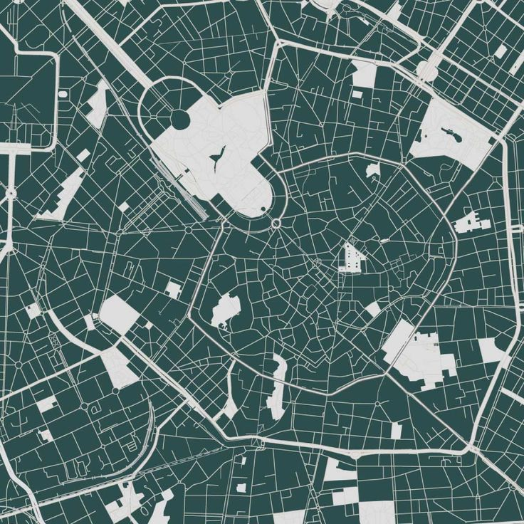 Picture - Map of Milan. Unique design and beautiful artwork for your wall.  Premium quality. Optional: print, canvas, frames. Limited edition. Swiss brand.