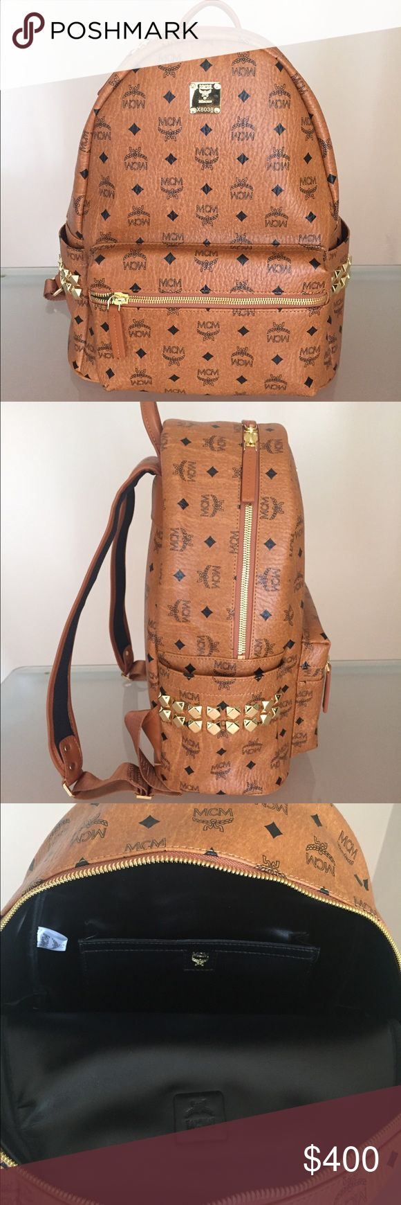 MCM Backpack Brown MCM Cognac Backpack bag Guaranteed Authentic, 9.5/10 condition. Medium Sized. Bags Backpacks