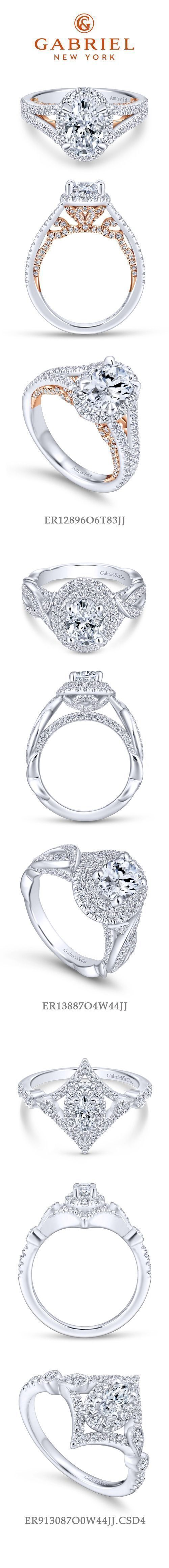 Gabriel NY - Preferred Fine Jewelry and Bridal Brand. Top 3 Oval Engagement Rings. 1) 18k White Gold Rose Gold Oval Halo Engagement Ring 2) 14k White Gold Double Halo Engagement Ring 3) Vintage 14k White Gold Halo Wedding Ring #fineweddingrings
