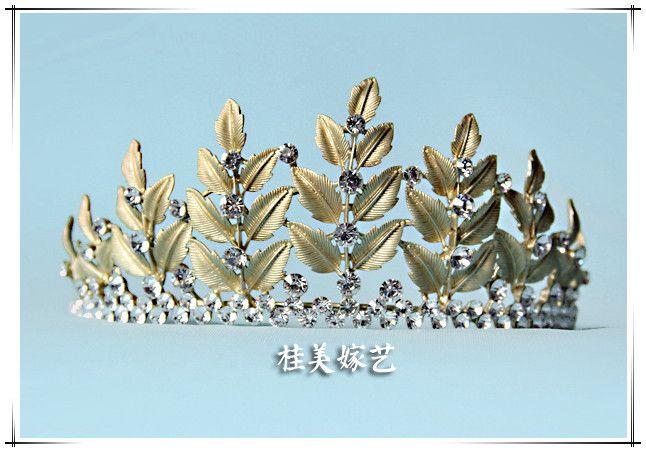 Гуй Мэй Йи невесты замуж барокко Золотая Корона горный хрусталь тиару винтажные аксессуары свадьбы европейские фотостудии с драгоценностями - Taobao