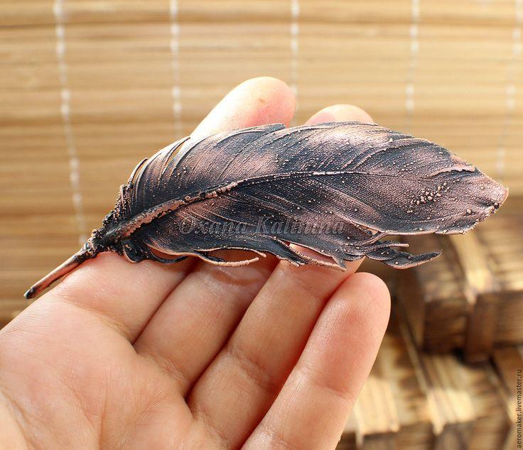 Купить Брошь - Принесенное ветром - коричневый, медный, медь патинированная, Медь ручной работы
