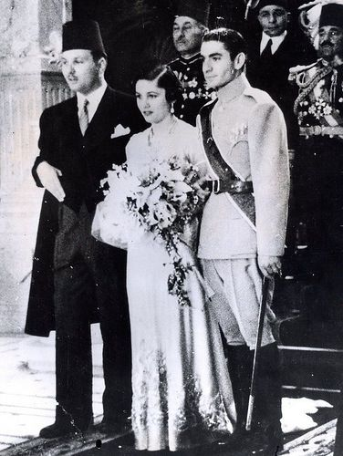 King Farouk of Egypt,Princess Fawzia his sister and her husband The Shah of Iran.(his first wife).