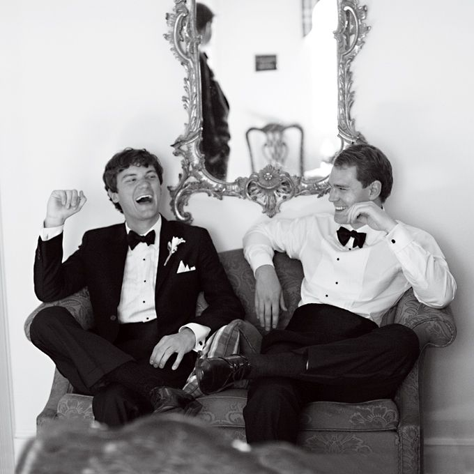 The groom and his groomsmen relaxed for a few minutes before the ceremony. Photo by Patricia Lyons.