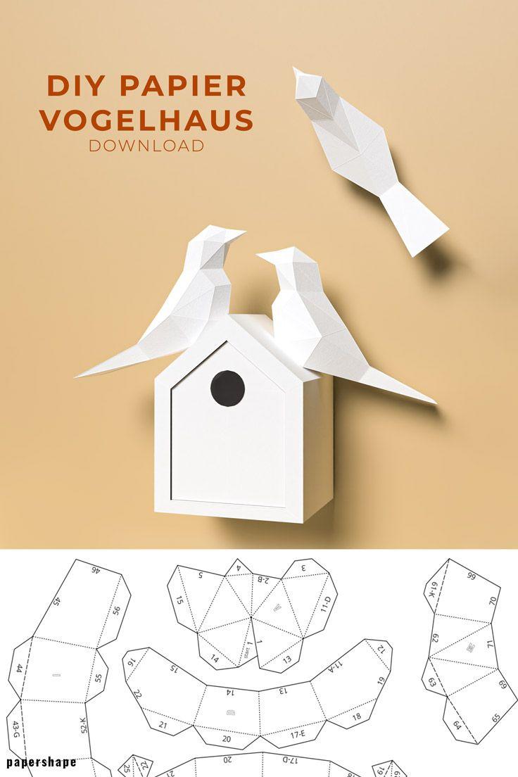 Vogelhaus Basteln Aus Papier Als Wanddeko Oder Hochzeitsgeschenk In 2020 Basteln Mit Papier Basteln Mit Papier Vorlagen Vogelhaus Basteln