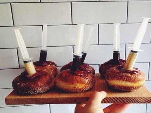 ... doughnuts jam fil syringe complete nyc bibs birthday strawberries jam