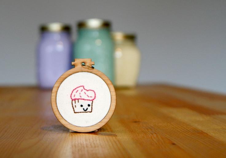 Happy Cupcake Embroidered Pendant - whistlingteapot.com.au