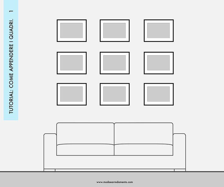 Decorare le pareti del soggiorno con foto e quadri: composizione 1 - idee da copiare.