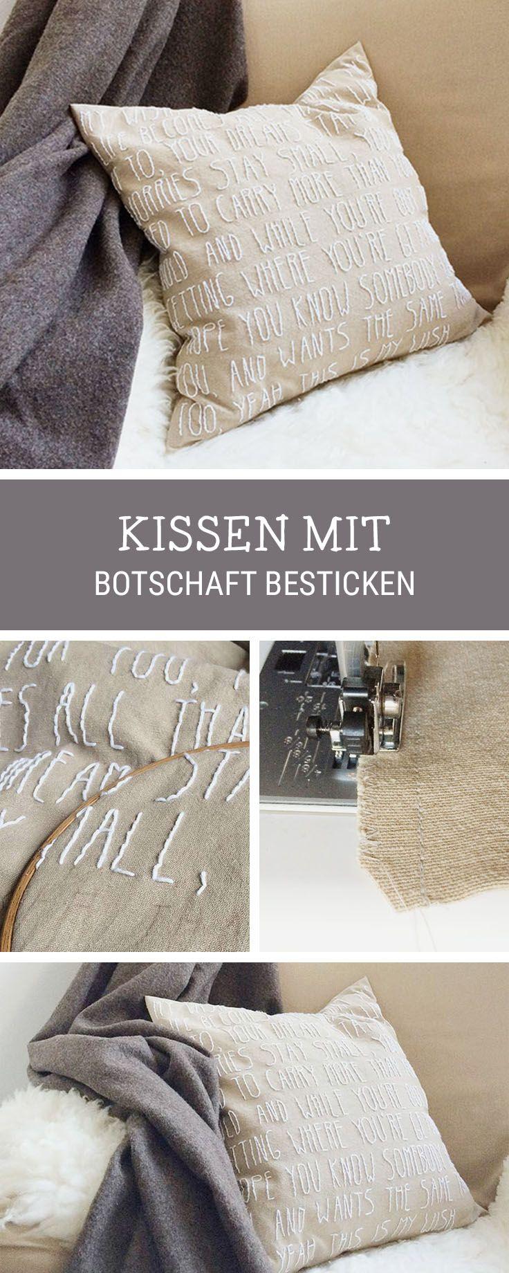 Stickanleitung für ein personalisierbares Kissen, Schrift sticken / embroidery inspiration: how to stitch letters on a cushion via DaWanda.com