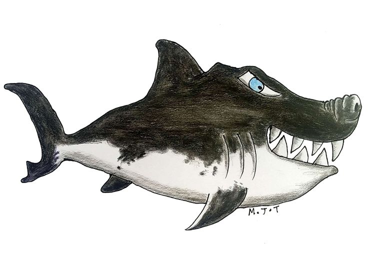 This is an illustration of a great white shark drawn with watercolour pencils and edited using GIMP. It is instantly downloadable at the price of $4.56 on Etsy (see link above). It can be used as an illustration for a nursery room, a boy's room, as a decoration for a T-shirt or any other fabric you wish; it can also be used as a design.